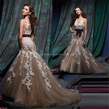 Mode dentelle Appliques col haut sirène robes de soirée de type moderne nuit robe de soirée robe de bal robe de soirée FXL-914