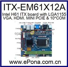 Intel H61 MINI ITX MB(motherboard) for I3, I5, I7 ITX-EM61X12A