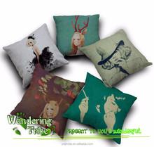 Hand Painted Cartoon Girls Print Sofa Cushion Covers Cotton Linen Ikea Pillow Cover Seat decorative pillow covers ikea