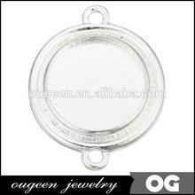 gümüş 18mm iki döngü yuvarlak kolye çerçevesi bilezik kore moda takı aksesuarları