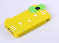 Hote sales Silicone Phone Case for Iphone 4 & 4S with Hello kitty pattern