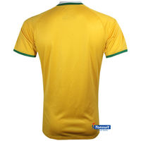 2014 new football t-shirt , grade ori world cup Brazil home soccer jersey ,china football shirt wholesale