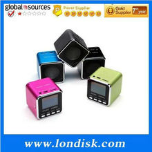 Superior acoustic technology / mini cube music angel MD08 speaker with LCD and FM radio