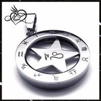 Stainless Steel Spinner Zodiac Mens Womens Necklace Leo Pendant