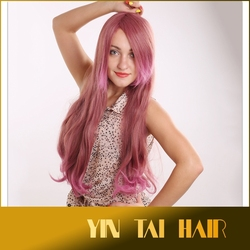 Hot sale Women Pink color wig fluffy side divide Bangs style long natural Wavy red Hair Wig top quality Custom Full Wigs