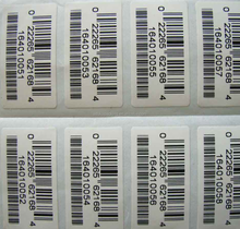 barcode sticker label paper with 2000 pieces per roll