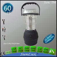 60led USB for mobile charge dynamo hand crank solar camping lantern