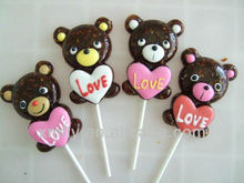 Bear shape gummy lollipop candy