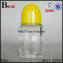 Perfume Bottles 1 2/3 oz Clear Glass Roll on Bottle-glass roller ball bottle with plastic yellow caps