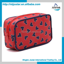 Manuactureres newest designer red makeup box cosmetic train case promotional high quality clutch bag tool cosmetic bag