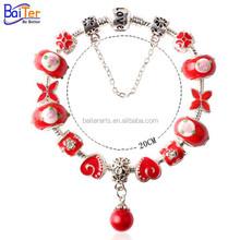 Wholesale Luxury Silver Charm Bracelet & Bangle For Women European Style Murano Glass Bead Charm Bracelet