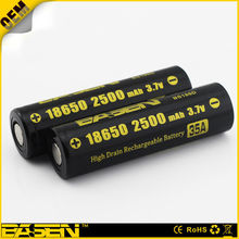 18650 batteries basen 2500mah alkaline battery li-ion battery pack 3.7v