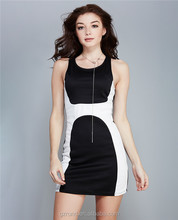 Wholesale high quanlity woman dress customize sexy dress white and black combination halter office ladies elegant black dress