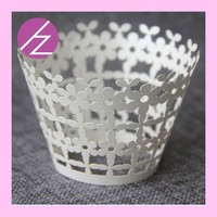 cheap laser cut crown cupcake wrapper with small flower DG-1