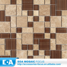 Arabic Mozaic Brown Handprinting Glass Mosaic Mixed Marble Coffee Tables For Sale