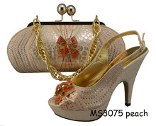 Noble temperament hot design Women Italian Leather Shoes and Bag for Ladies high heel MS3075 peach