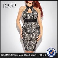 MGOO 2015 New Fashion Latest Design OEM/ODM Women Halter Neck Dress Backless Vestidos Overalls Print Bodycon Dress H919