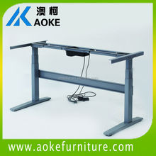 metal office desk with wooden top
