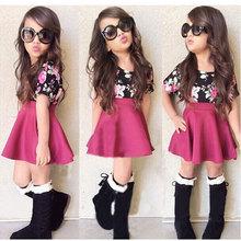 Children suit skirt suit rose floral shirt + pink skirt fashion wear spot girls skirts children dress
