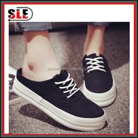 2016 white canvas shoes female low cut female college wind platform shoes black shoes