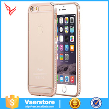 Electroplating cover for Apple for iPhone 6 plus featured with Shiny diamond TPU mobile phone case