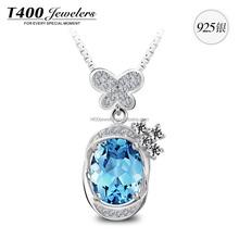 T400 crystal from swarovski joyerias 925 sterling plata pendant necklace 10625