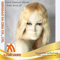 Hand tied Mono top wefted back Color 613 Platinum blonde 100% Remy Human hair wigs