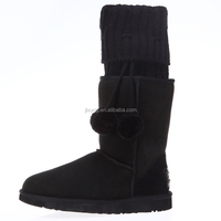 Hot sale 2015 Winter women snow boots sheepskin Knitted woolen snow boots factory warmful comfortable
