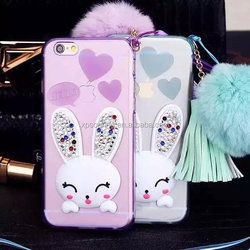 Diamond TPU bunny case soft cover for iPhone 6 6 plus, lovely rabbit case for iPhone 6S