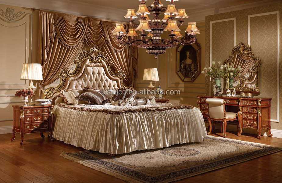 Victoria style queen bed with night stand luxury gold for Queen victoria style furniture