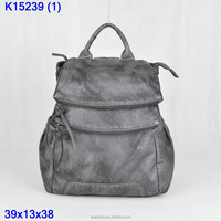2015 new fashion design of ladies backpack with washed pu backpack of Angelkiss brand