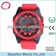Exceeding design sport style anti magnetic alloy case pu strap two movements four buttons big face watches for men