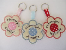 Personalised Flowergirl Key Ring Wedding Gift / Favour Felt & Fabric Flower