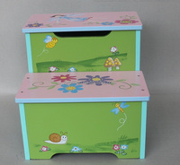 Kids Wooden Cute Design Step Stool With Storage