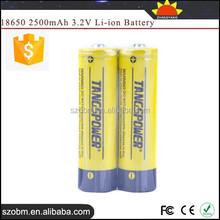 Tangspower IFR 2500mAh 3.2V High Capacity 18650 li ion battery