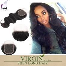 Hot products 4*4 virgin hair silk base free part closure, body wave silk base closure, front lace closure