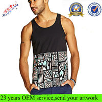 Tribal Print Cotton Gym Wholesale Custom Tank Top Men