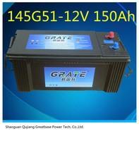 145g51 12v150ah lead acid maintenance free automobile/automotive battery truck/auto/car battery manufacturer