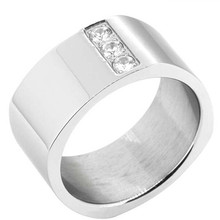 Yiwu Aceon Stainless Steel Crystal Stripe Wide Blank Band Engravable stone men ring