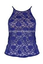 2015 venta al por mayor para mujer ropa de verano azul atractivo del cordón tops mujeres
