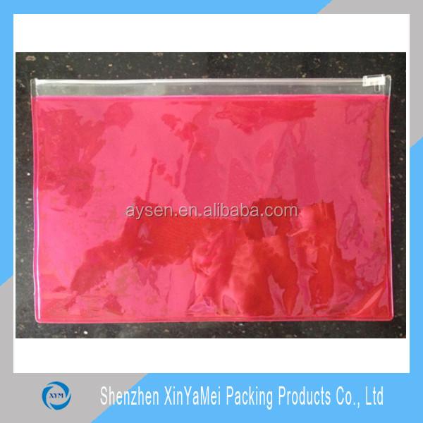 Plástico transparente zipper pvc bolsa