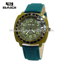 Unique design high strength mineral glass lightness dial roating bezel green leather band men top fashion new watches BD72039