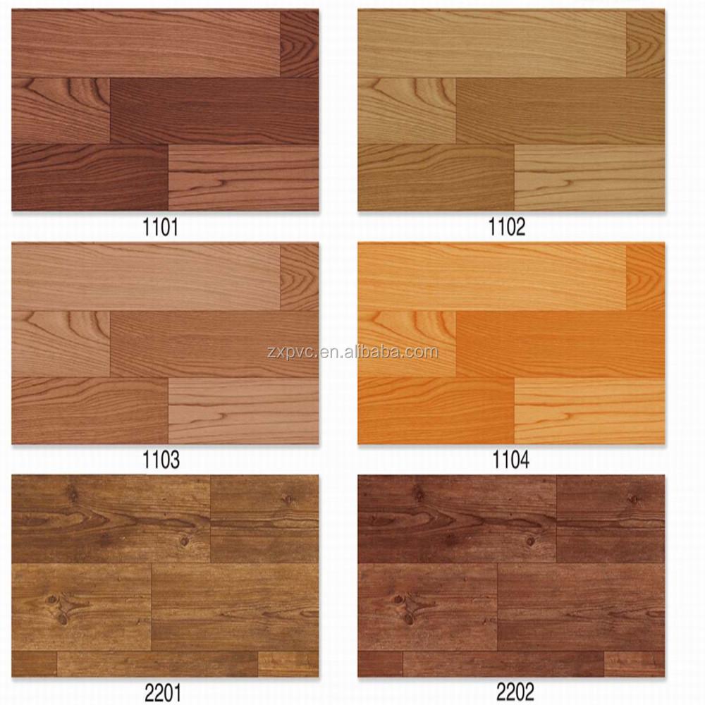 Sponge pvc vinyl flooring sheet roll wood grain printed for Wood grain linoleum flooring