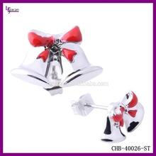 Fashion Diamond Beautiful Christmas Bell Stud Earrings Jewelry