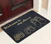 Printing floor carpet with shoes design welcome to home