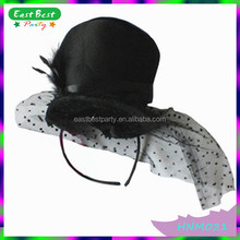 Hen Do Accessories Black Bride to Be Mini Top Hat Headband