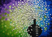 Talented Artists 100% Hand Painted Knife Flower Oil Painting Modern Vase on Canvas for Wall Art Decoration