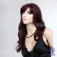 NAWOMI Black&Red Highlights Lady's Full Wigs 100% Kanekalon Hair Ventilate Wavy Long Synthetic Wig Side Bang Capless Peruca