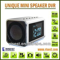Top Hot Mini Hidden Pinhole Camera with Clock for Surveillance with Night Vision with 2.0 LCD can playback MP3 MP4 FM MVS01