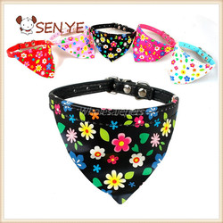 Triangular Neck Scarf Flowers Pattern PU Leather Puppy Cat & Dog Collar